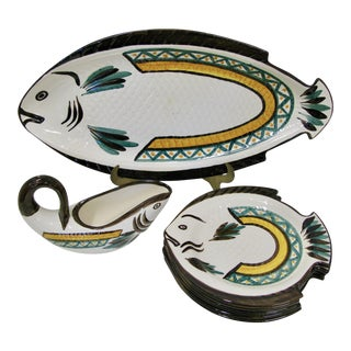 French Hand Painted Faience Fish Dinnerware