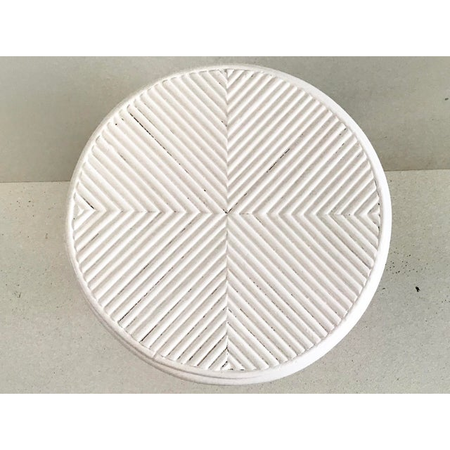 1960s Pencil Reed Rattan Cocktail Table in White Lacquer For Sale - Image 5 of 9