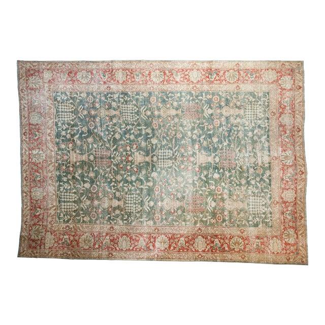 """Vintage Distressed Tabriz Carpet - 8'1"""" X 11'4"""" For Sale"""