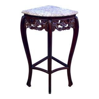 Pink Marble Top Carved Rosewood Quarter Round/Corner Table