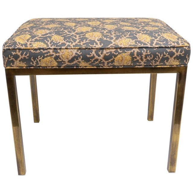 Gold Mastercraft Bench With Coral Motif Fabric For Sale - Image 8 of 8