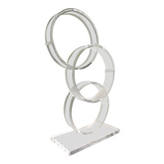 Mid Century Large Acrylic Lucite Connected Ring Sculpture For Sale