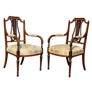 Edwardian Satinwood Armchairs - a Pair For Sale