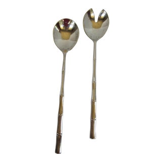 Vintage Silver-Plate Bamboo Salad Servers-2 Pieces For Sale
