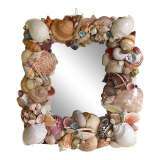 Vintage Coastal Artist Made Shell Mirror For Sale