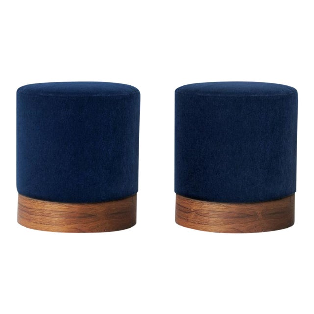 Modern Indigo Mohair and Rosewood Plinth Ottoman Stools- A Pair For Sale