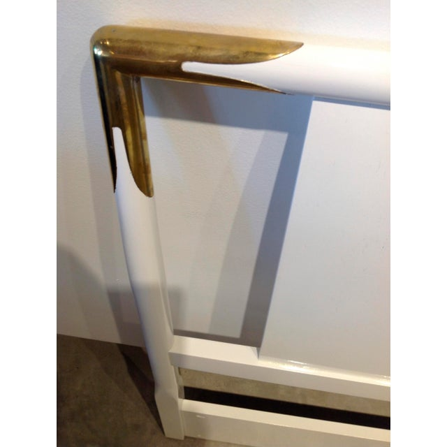 Mid Century Modern Lacquered Wood and Brass Robsjohn-Gibbings for Widdicomb Headboard - Image 5 of 6