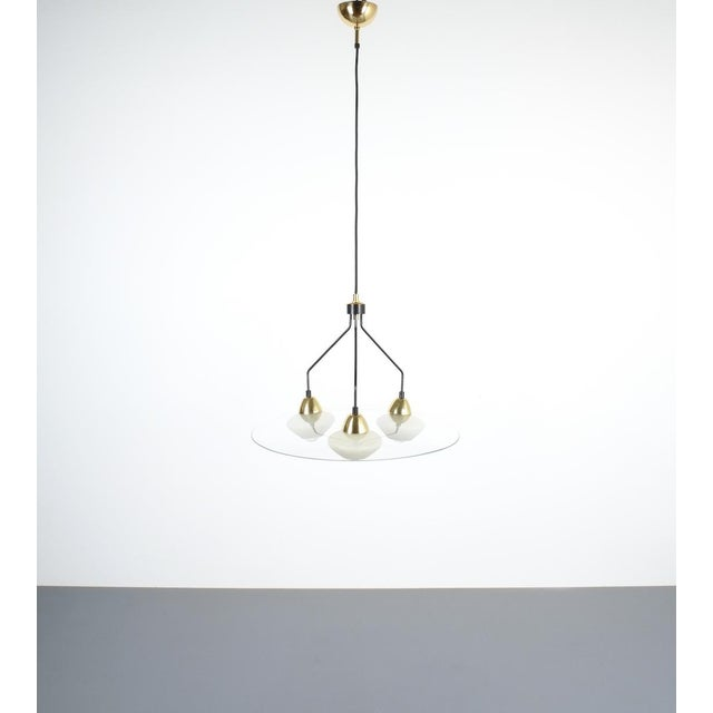 Brass Angelo Lelii Style Ufo Chandelier Clear Glass Brass, Italy Circa 1955 For Sale - Image 7 of 13