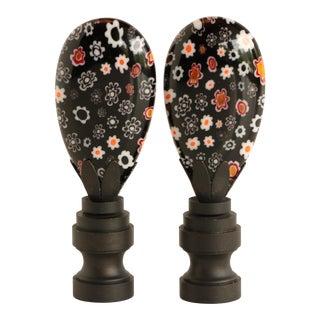Millefiori Glass Lamp Finials in Black - a Pair For Sale