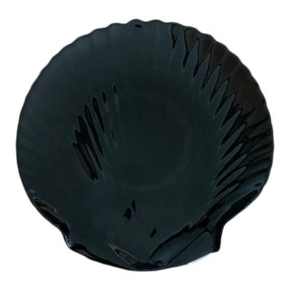 Vintage Arcoroc Black Seashell Plate For Sale