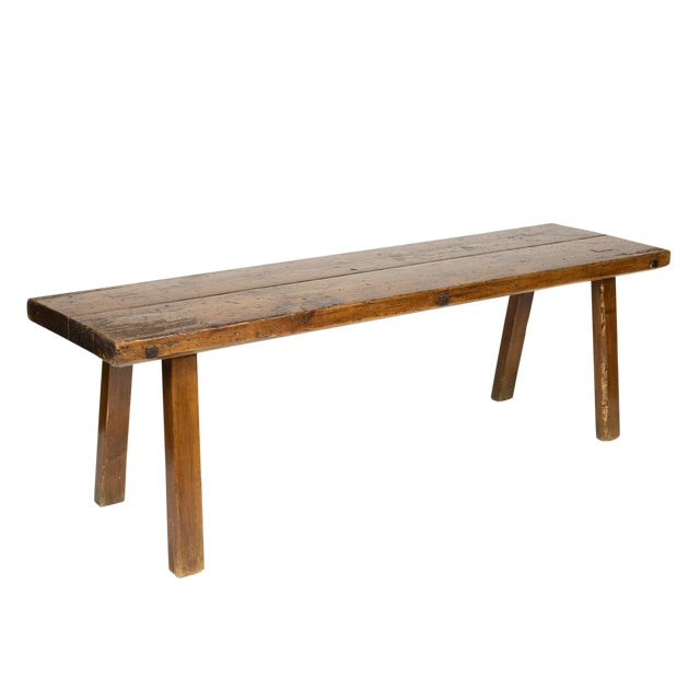 Rustic Elm Work Bench With Square Iron Pegs, English Circa 1880. For Sale