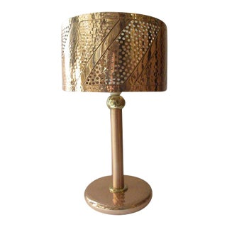 Rustic Style Table Lamp in Chiseled Hammered Copper For Sale