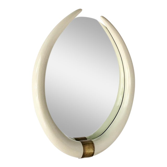 A Faux Tusk Ivory Lacquered Mirror With Brass Mount 1970s For Sale