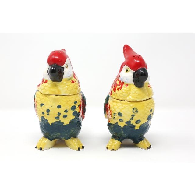 Ceramic Vintage Hand-Painted Parrots Salt/Pepper and Cream/Sugar Set - Set of 2 For Sale - Image 7 of 13