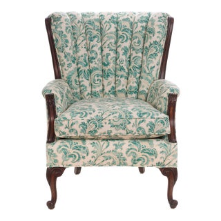 Queen Anne Vintage Channel Back Wing Chair