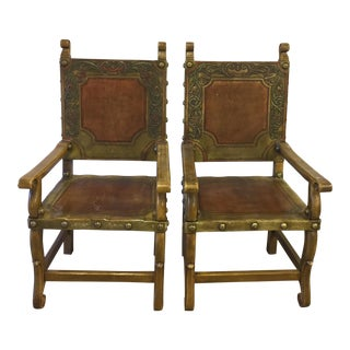 Spanish Heritage Western Leather Hand Tooled Leather Arm Chairs - A Pair For Sale