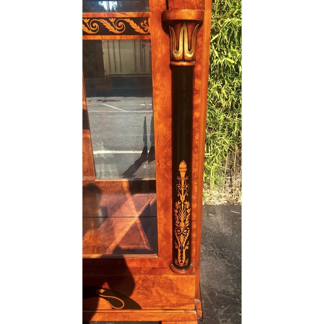 2000 - 2009 Versace Style Giemme Italian Neoclassical Inlaid Breakfront China Display Cabinet For Sale - Image 5 of 7