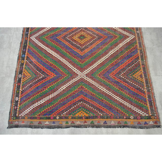 "Hand Woven Turkish Kilim Area Rug - 6'9"" X 9'6"" - Image 7 of 9"