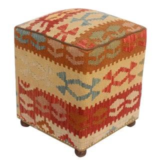 Art Deco Handmade Kassie Kilim Upholstered Rust and Tan Wool Ottoman
