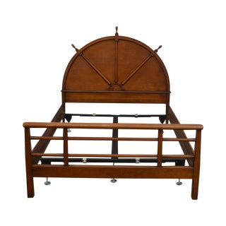 1940's Vintage Nautical Ships Wheel Full Size Maple Bed For Sale