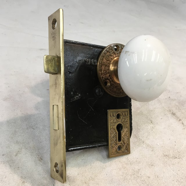 Antique Late 19th Century Eastlake Victorian Yale & Towne Mortise Lock Box With Porcelain Door Knobs For Sale - Image 13 of 13