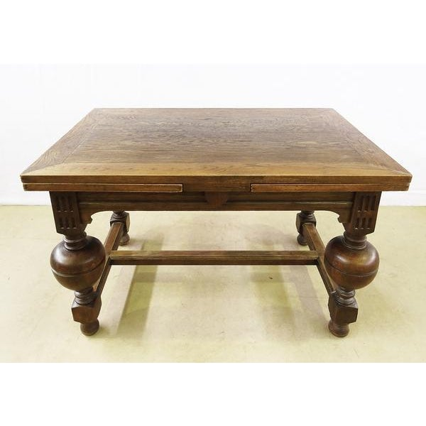 Extending Antique French Solid Oak Jacobean Style Dining Table For Sale - Image 13 of 13