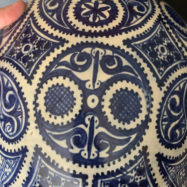 Islamic Large Moroccan Hispano-Moorish Blue and White Ceramic Handled Jar For Sale - Image 3 of 13