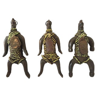 "Superb African Fali Fertility Beaded Dolls Phallic Cameroon S/3 8"" H For Sale"