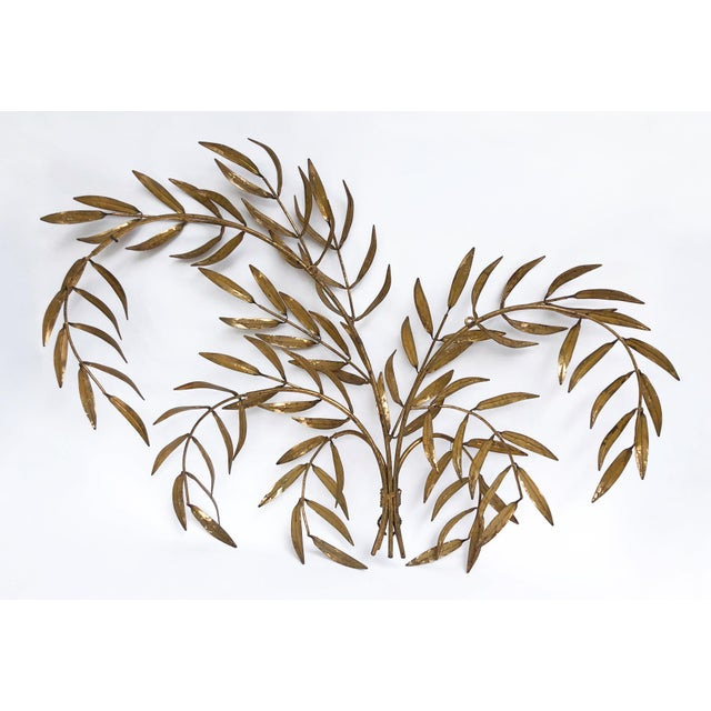 Metal Vintage Italian Gilded Tole Leaves Wall Sculpture For Sale - Image 7 of 9