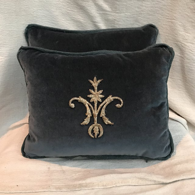 Metallic Silver Appliqué Velvet Pillows - A Pair - Image 2 of 5