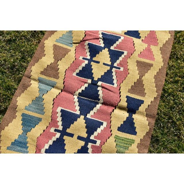 Textile Nomadic Tribal Design Anatolian Oushak Traditional Wool Handmade Turkish Kilim Rug For Sale - Image 7 of 10