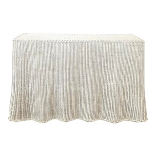 Vintage White Wicker Ghost Trompe L' Oeil Console For Sale