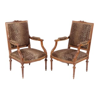 French Walnut Louis XVI Style Armchairs - A Pair For Sale