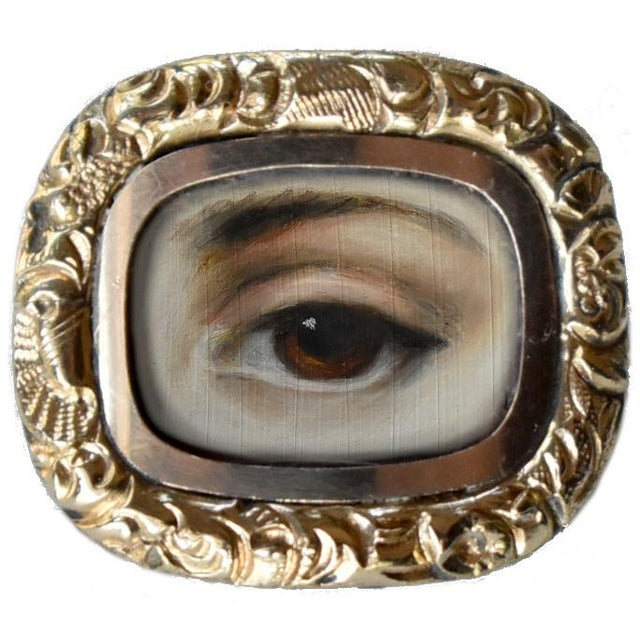 Early 19th Century Early 19th Century Lover's Eye Georgian Gold Brooch For Sale - Image 5 of 5