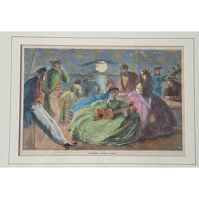 """1861 """"September—Society Yachting"""" Hand Colored Print, Framed For Sale - Image 9 of 9"""