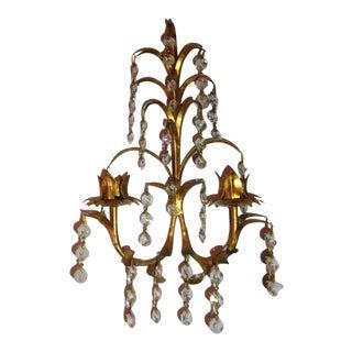 French Gold Gild & Crystal Candelabra
