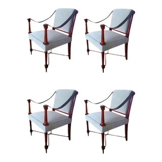 Maison Ramsay Signed Two Pair of 1940s Neoclassic Arm Chairs For Sale