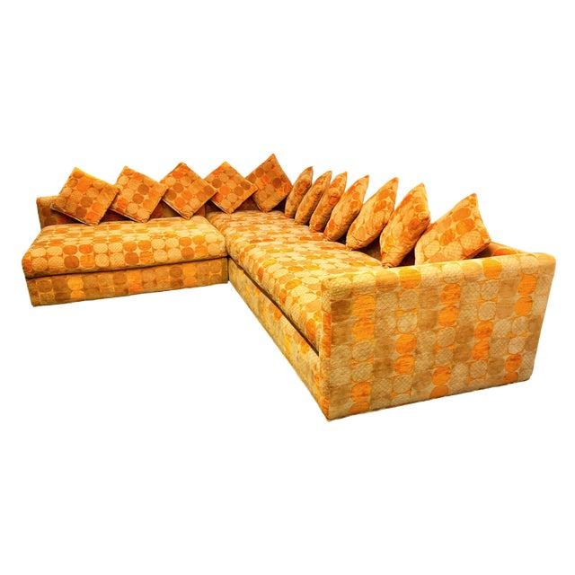 Jack Lenor Larsen Milo Baughman Style Two-Piece L-Shaped Sectional Sofa For Sale
