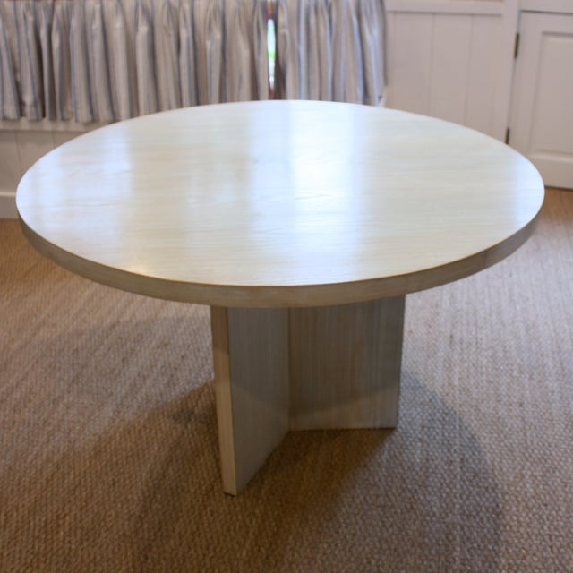 Contemporary Strieed Sea Foam Green Dining Table With Gold Edge For Sale - Image 3 of 10