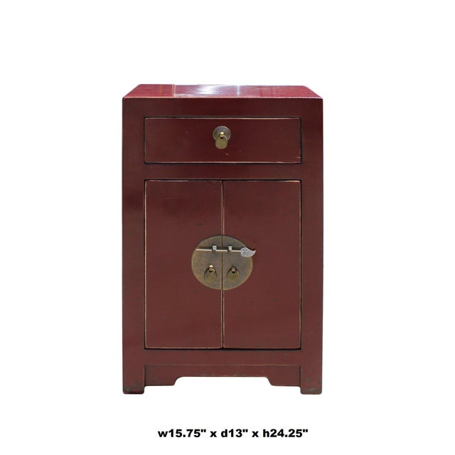 Oriental Distressed Brick Red Lacquer Side End Table Nightstand
