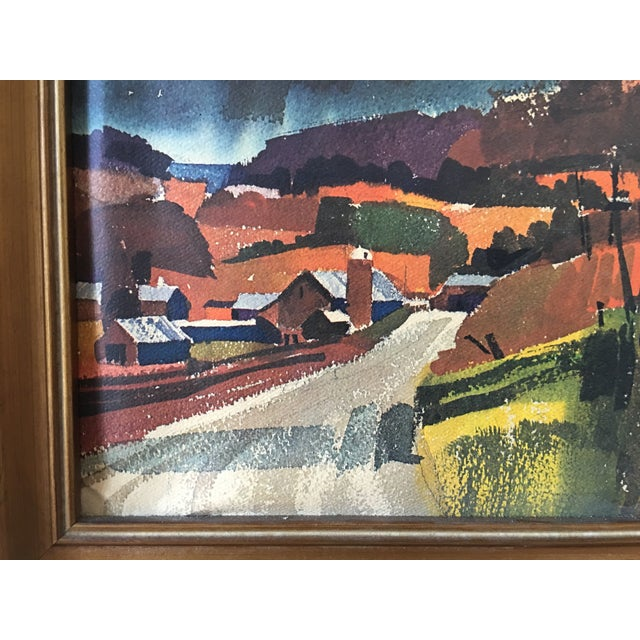 Mid-Century Watercolor Landscape Painting For Sale - Image 4 of 5