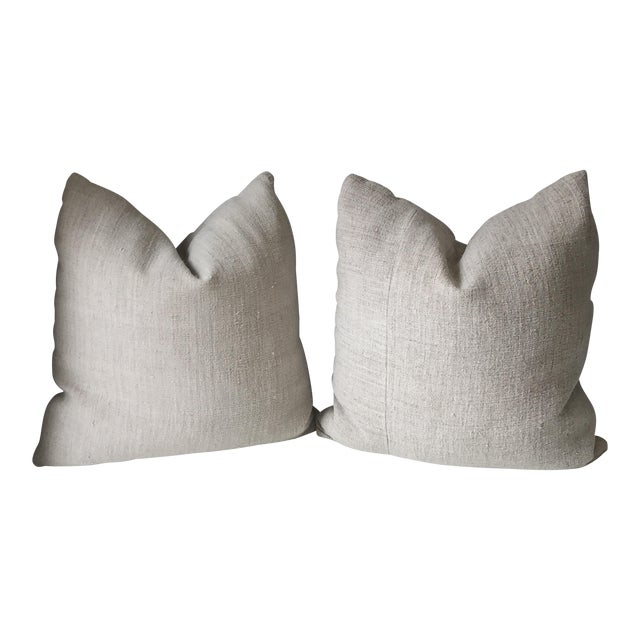 French Grain Sack Pillows - A Pair - Image 1 of 7