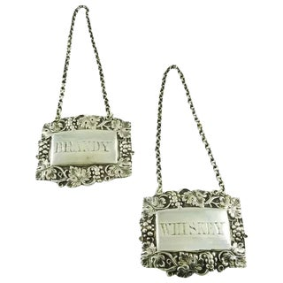 Late 19th Century Victorian Sterling Silver Wine Labels Decanter Tags for Brandy & Whiskey - a Pair For Sale