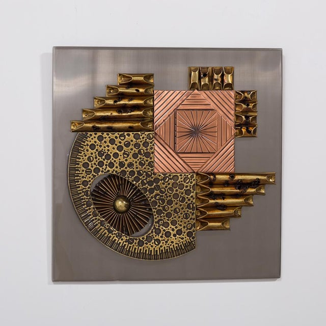Mid-Century Modern A Square Brutalist Metal Wall Panel Sculpture 1970s For Sale - Image 3 of 5