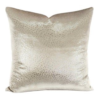 "Kravet Couture Animal Allure in Sterling Pillow Cover - 20"" X 20"" Platnuim White Velvet With Silver Glimmer Speckle Cushion Cover For Sale"