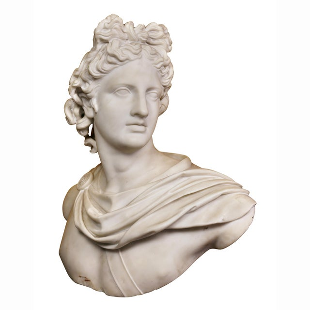 Italian White Marble Bust of Apollo Belvedere With Bauhaus Design Pedestal Base For Sale - Image 9 of 9