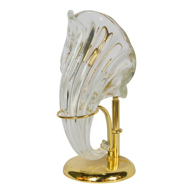Italian Blown Glass and Gold Sculptural Lamp For Sale