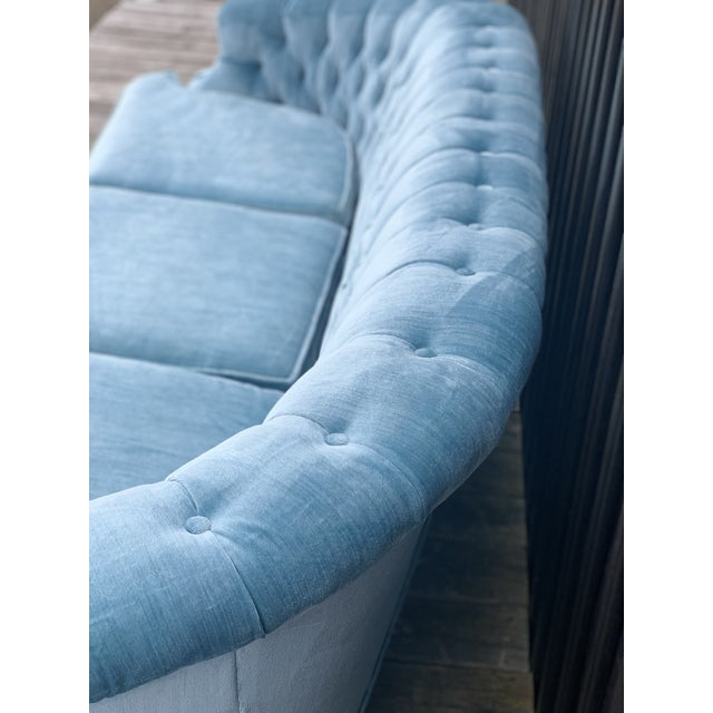 Broyhill Mid Century Modern Sky Tufted Blue Chesterfield For Sale - Image 4 of 13