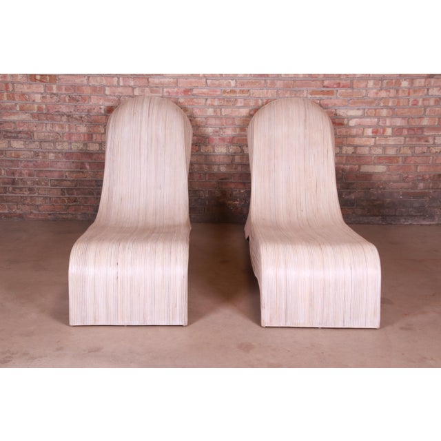 Contemporary Betty Cobonpue Sculptural Split Reed Rattan Chaise Lounges, Pair For Sale - Image 3 of 13