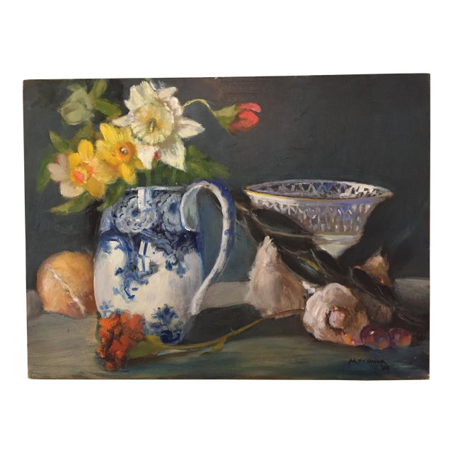 Contemporary Dutch Style Still Life of Flowers and Vegetables Oil Painting by Marina Movshina For Sale